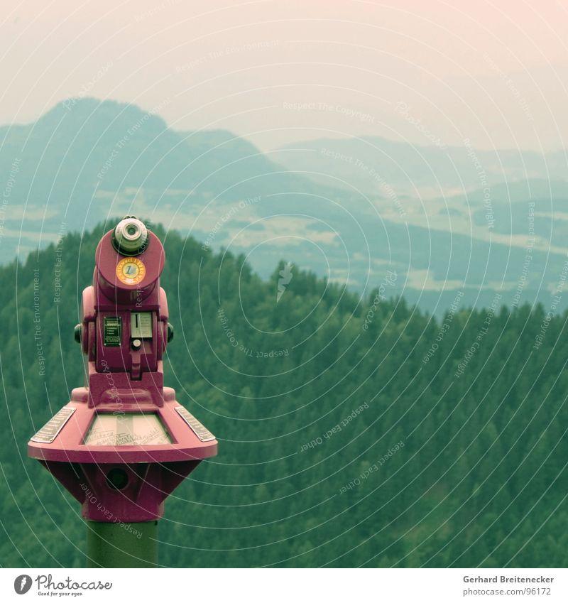 Weitblickgerät Wald Berge u. Gebirge Landschaft Aussicht beobachten Hügel Abenddämmerung Fernglas Objektiv überblicken