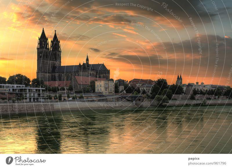 Magdeburger Dom im Abendlicht Himmel Wasser Sommer Sonne Baum Wolken Haus Wärme Wand Architektur Gebäude Mauer Treppe Kirche Schönes Wetter Brücke