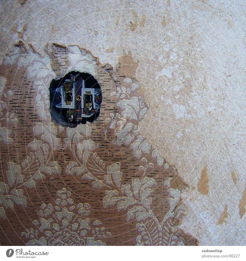 erleichterungsloch Tapete Striptease Modernisierung Elektrizität Steckdose Arbeit & Erwerbstätigkeit kaputt kratzen Haushalt Wohnzimmer Detailaufnahme wallpaper
