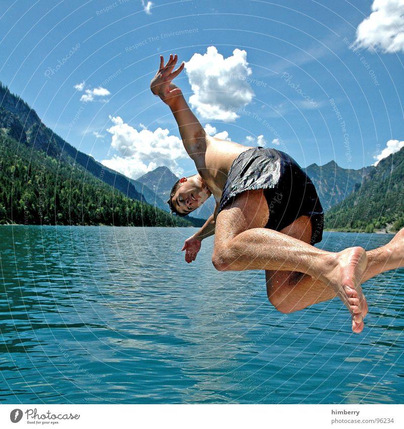 refresh royal Mann Jugendliche Wasser Himmel Sport springen Spielen Berge u. Gebirge See Wasserfahrzeug Schwimmbad Brust Schwimmen & Baden Österreich Erfrischung Segelboot