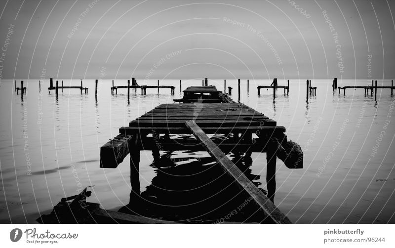 Auf den Spuren der Vergänglichkeit... See Meer Steg Anlegestelle Küste schwarz weiß Nebel Meeresspiegel Holz kaputt gebrochen Wasserspiegelung Brücke