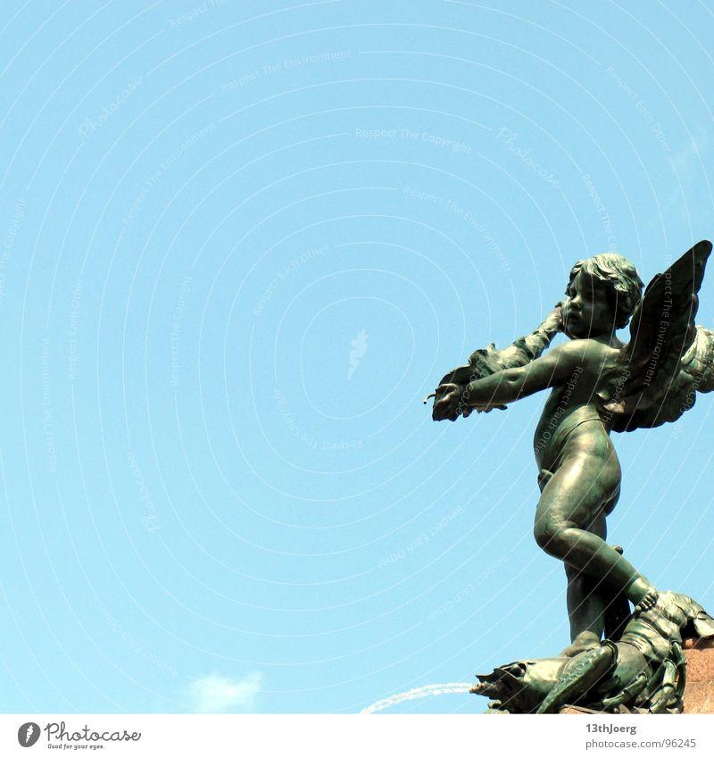 Engelsstandpunkt I blau Sommer Kunst Hoffnung Engel Brunnen Schmuck Statue Leipzig Skulptur himmlisch Sachsen Krebstier Springbrunnen Kunsthandwerk Güte