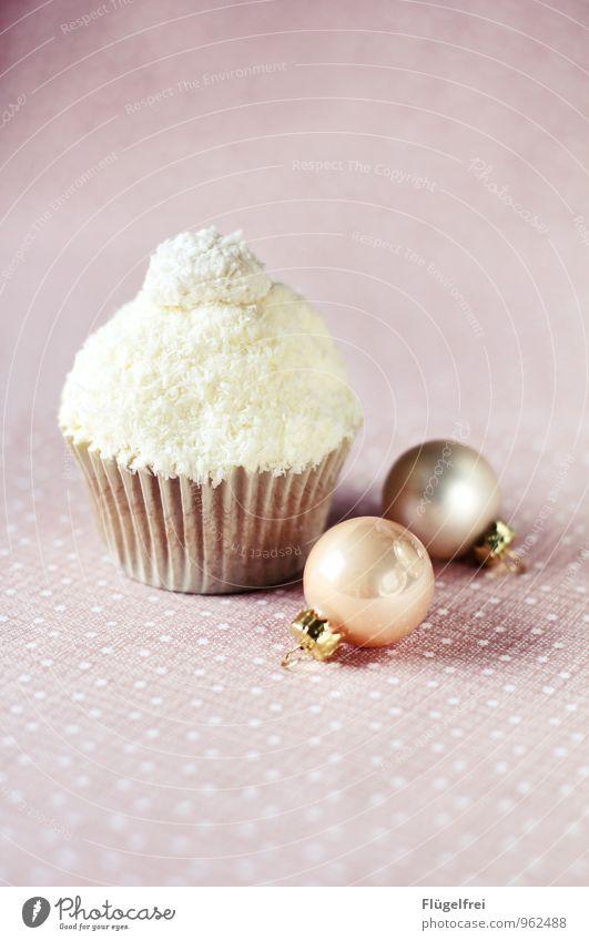 Happy winter! Ernährung lecker Cupcake Christbaumkugel Dekoration & Verzierung Winter Kokosraspeln weiß Stern Tischwäsche rosa Pastellton Muffin ungesund