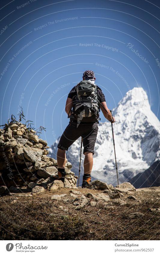 Ama Dablam Natur Landschaft Urelemente Himmel Wolkenloser Himmel Schönes Wetter Schnee Hügel Felsen Berge u. Gebirge Gipfel Schneebedeckte Gipfel Gletscher