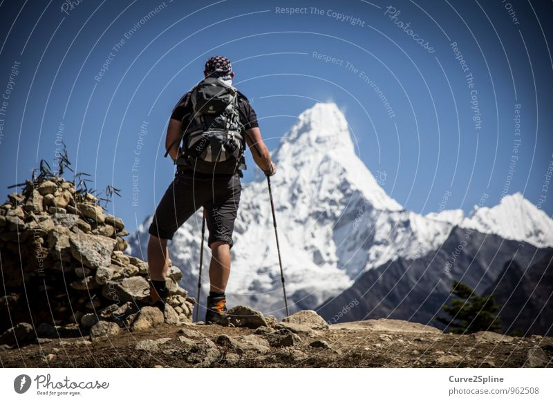 Ama Dablam Natur Urelemente Wolkenloser Himmel Eis Frost Schnee Felsen Berge u. Gebirge Gipfel Schneebedeckte Gipfel träumen wandern Himalaya Aussicht Freiheit