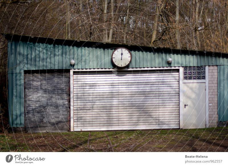 High Noon alt grün weiß Baum Wald Architektur Wege & Pfade Gebäude Zeit außergewöhnlich Fassade Zufriedenheit Wetter Design Uhr Tür
