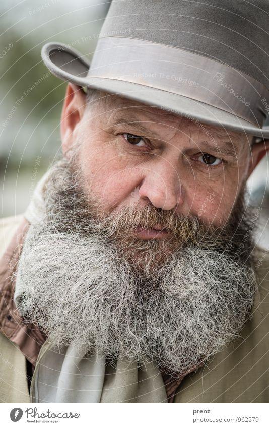 Ede 1 Mensch maskulin Mann Erwachsene Männlicher Senior Kopf Gesicht Bart 45-60 Jahre grau grün Hut nachdenklich Farbfoto Außenaufnahme Textfreiraum links Tag