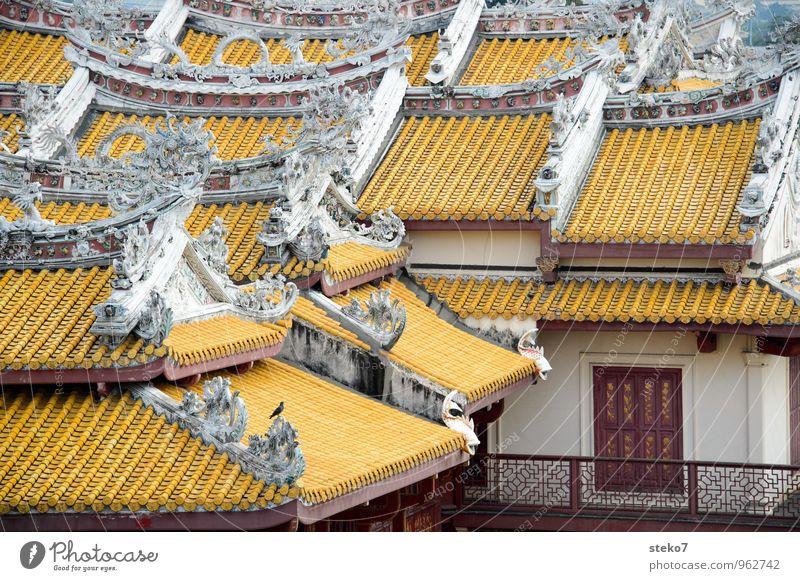 Dachfenster Ferien & Urlaub & Reisen weiß rot Haus gelb Perspektive Bauwerk Balkon Thailand Klischee komplex Ayutthaya Königspalast