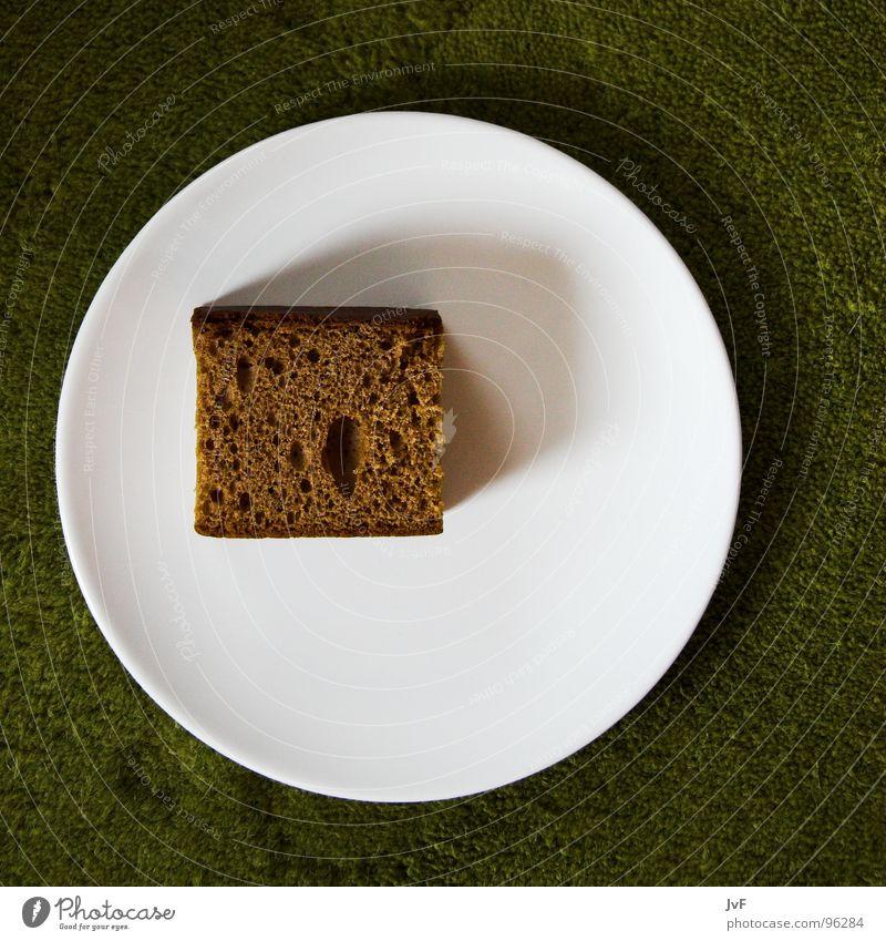 karges mahl Brot Lebkuchen grün weiß Teller Mahlzeit armselig Teppich Frühstück Appetit & Hunger braun Backwaren Ernährung Justizvollzugsanstalt