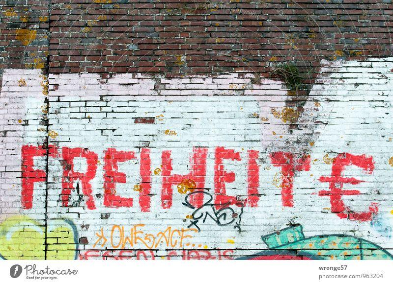 FREIHEIT € Graffiti Mauer Wand Schriftzeichen Eurozeichen mehrfarbig Backsteinwand Buchstaben rot Freiheit besprüht Farbstoff Farbfoto Außenaufnahme