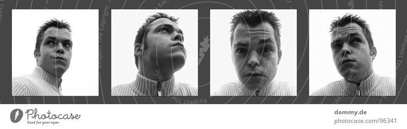 Seit Oktober 2005... Mann Kerl Porträt Augenbraue Kinn Weste Jacke Stirn schwarz weiß 4 Quadrat lässig Neugier Fragen Lippen Schwarzweißfoto dommy thomas