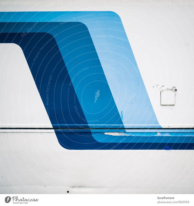Wellen Stil Design Fahrzeug Zeichen Schriftzeichen Linie Streifen blau weiß Farbe Grafik u. Illustration Grafische Darstellung graphisch abstrakt Beule alt