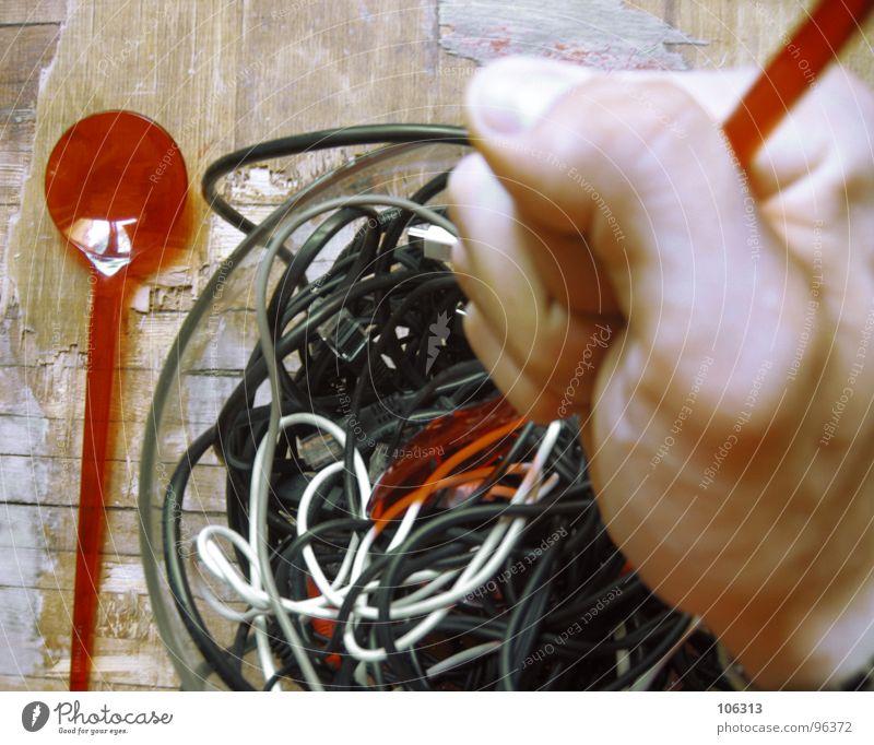 GUTEN APPETIT: KABELSALAT [2.AKT] alt weiß Hand rot schwarz gelb grau Holz Feste & Feiern Lebensmittel maskulin Musik modern frisch gefährlich Seil