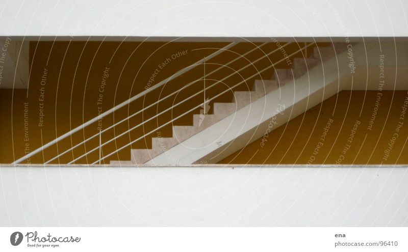 upstairs gelb Architektur Wege & Pfade Mauer Fuß Fassade Beton hoch Treppe modern Niveau Schnur Geländer Kasten Etage