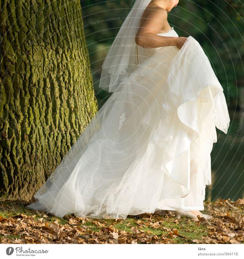 hieb- und stichfest | nix wie weg Hochzeit Mensch feminin Junge Frau Jugendliche Körper 1 Baum Kleid Brautkleid gehen Glück Vorfreude Liebe Verliebtheit