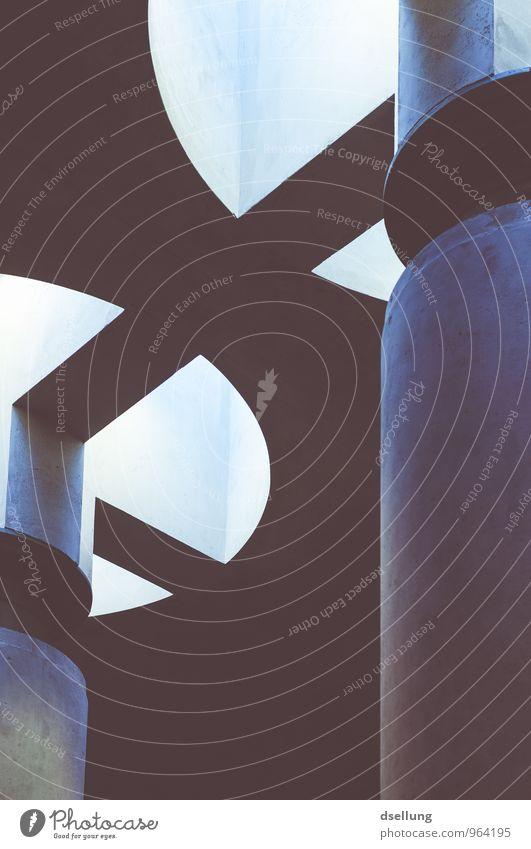 kunst. Gebäude Mauer Wand Fassade Decke dunkel eckig kalt trist Stadt blau gelb grau orange rosa weiß ästhetisch bizarr Design Fortschritt Kunst modern Ordnung