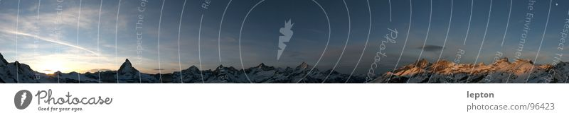mehr als Toblerone... Berge u. Gebirge groß Horizont Schweiz Abenddämmerung Panorama (Bildformat) Bergkette Matterhorn Kanton Wallis Gornergrat