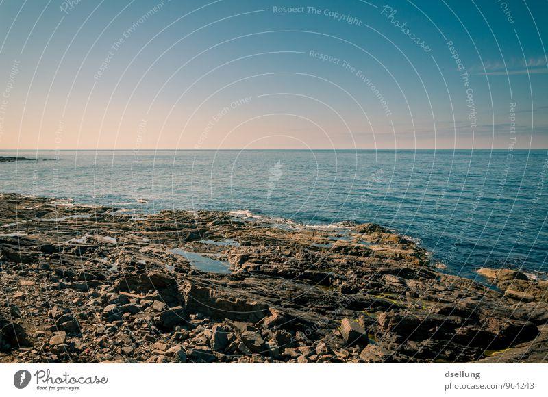 besser da als hier. Umwelt Natur Landschaft Urelemente Erde Wasser Wolkenloser Himmel Sonnenaufgang Sonnenuntergang Frühling Sommer Klima Schönes Wetter Felsen
