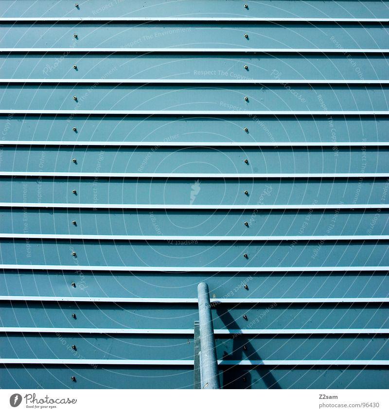 simplify II sehr wenige Stil einfach Knöpfe Rollo hell-blau Eisen Hintergrundbild modern Geländer Lamelle architecture Linie Metall Strukturen & Formen Niete