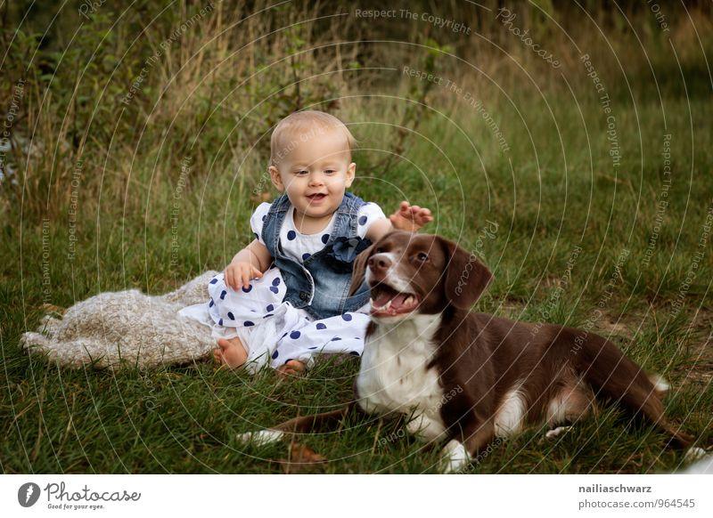 Mädchen mit dem Hund Mensch blau Sommer Tier Wiese natürlich feminin Garten braun Zusammensein Freundschaft Kindheit Fröhlichkeit Lächeln