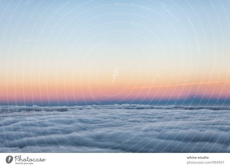 Aussicht: Bewölkt Himmel Ferien & Urlaub & Reisen Wolken Ferne Umwelt fliegen Luft Fliege Flugzeug Flugangst Wolkenhimmel Wolkenfeld Nebelschleier im Flugzeug