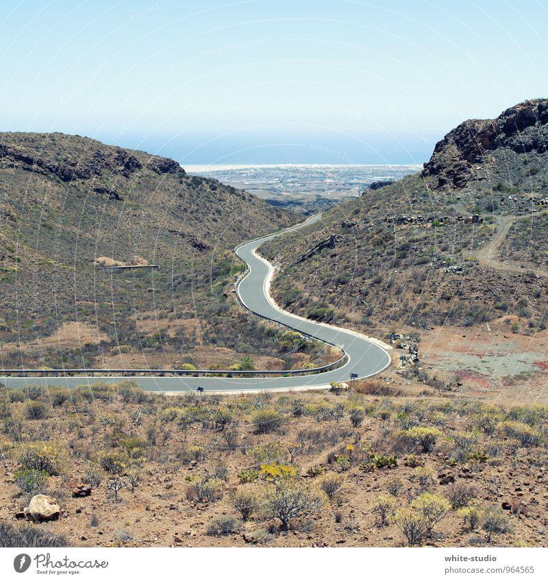 Serpentine bevölkert ästhetisch Straßenbelag Serpentinen Kurve Schlucht Meer Meeresstraße Sträucher karg Landschaft Gran Canaria Kurvenlage Sinus Sommer
