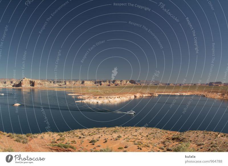 Lake Powell Ferien & Urlaub & Reisen Tourismus Ferne Natur Landschaft Erde Wasser Wolkenloser Himmel Schönes Wetter Dürre Felsen Bucht See Stausee Lake Powell