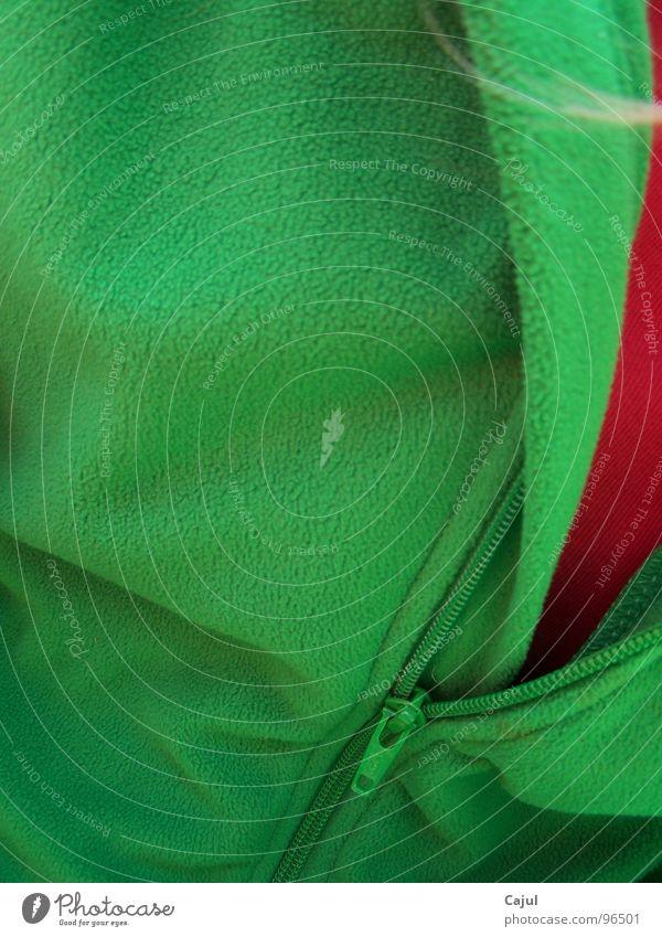 Einblick Jacke Pullover Physik grün rot Sommer Haarsträhne Gedanke Erinnerung Bremen Park Baum Flies Farbe Reiscerschlusss Wärme Blick T-Shirt Haare & Frisuren