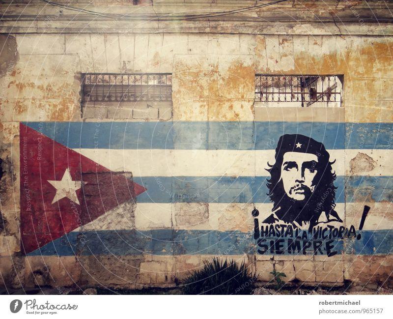 ¡Hasta la victoria siempre! Wand Mauer Kunst Fassade Erfolg Stern (Symbol) Kultur Fahne Gemälde Wahrzeichen kämpfen Kunstwerk Kuba rebellisch Bekanntheit