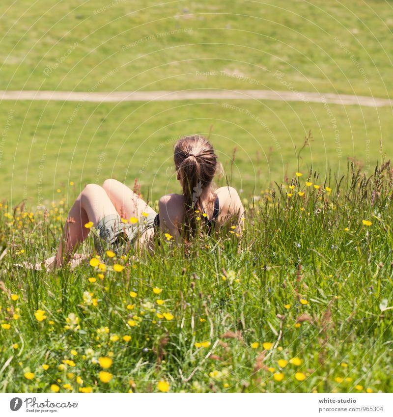 Tagträumen feminin Junge Frau Jugendliche 18-30 Jahre Erwachsene wandern Erholung Außenaufnahme Erholungsgebiet Wiese Wiesenblume Sonnenbad Pause ausruhend