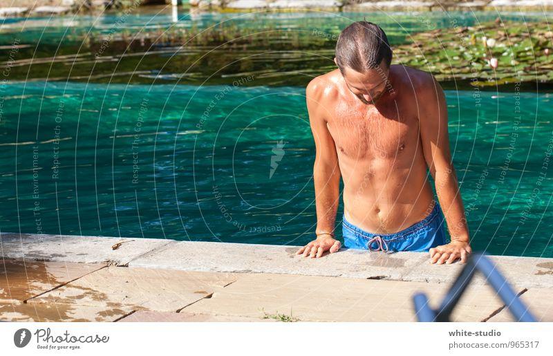 Cool Water Mensch Jugendliche Junger Mann Erotik 18-30 Jahre Erwachsene Leben Schwimmen & Baden maskulin nass Schwimmbad sportlich Sonnenbad türkis Erfrischung Sommerurlaub