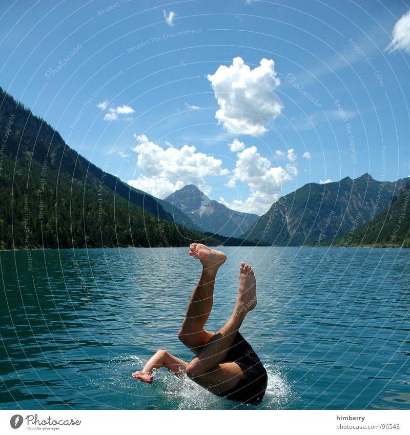 refresh royal III Mann Hand Wasser Himmel springen Berge u. Gebirge Fuß See Beine Wasserfahrzeug Schwimmbad tauchen Brust Schwimmen & Baden Österreich Erfrischung