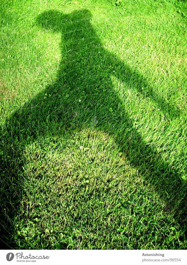 Der Schattenmann 3 Mensch Mann grün Pflanze Sommer schwarz Erwachsene Wiese Umwelt Bewegung Gras Beine Wetter Arme maskulin Rasen