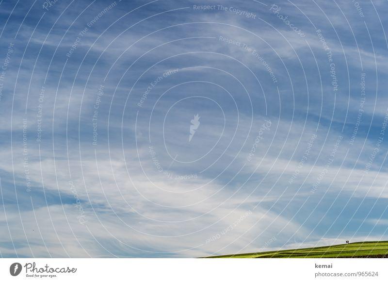 Sonntagsspaziergang Ausflug Ferne Mensch 2 Umwelt Natur Landschaft Himmel Wolken Sonnenlicht Sommer Herbst Schönes Wetter Gras Park Feld Hügel blau grün