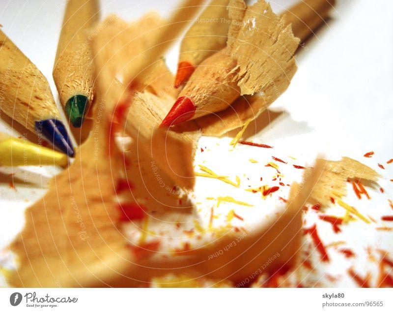 Farbenfroh Farbstift Farbmittel mehrfarbig Anspitzer Splitter Müll Holz Späne Zeichnung streichen schreiben Nahaufnahme angespitzt Detailaufnahme