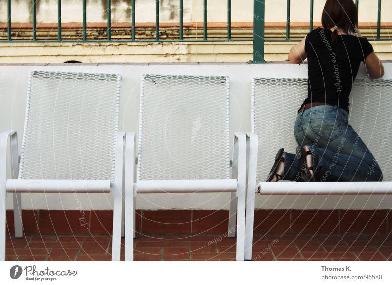 Wer findet den Fehler ? Stuhl Freizeit & Hobby Geländer Sessel Fotografieren Linse Gitter Verzerrung Dachterrasse
