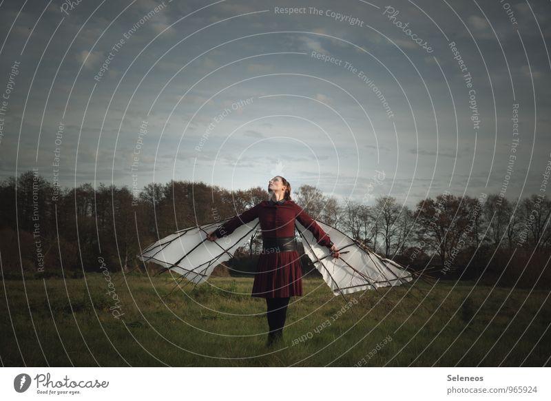 Traum vom fliegen. Ausflug Abenteuer Ferne Freiheit Mensch feminin Frau Erwachsene 1 Umwelt Natur Landschaft Himmel Wolken Horizont Wiese Feld Flügel träumen
