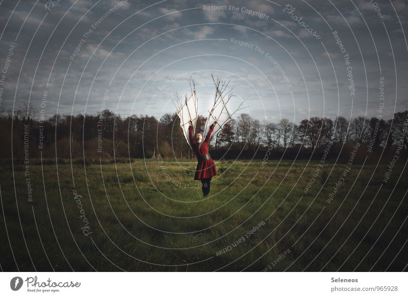 Die Freiheit. Das Ziel. Ausflug Abenteuer Ferne Mensch feminin Frau Erwachsene 1 Umwelt Natur Landschaft Himmel Wolken Wiese Feld entdecken fliegen frei Neugier