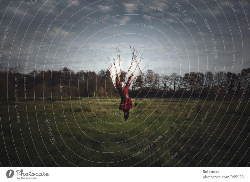 Die Freiheit. Das Ziel. Mensch Frau Himmel Natur Landschaft Wolken Ferne Umwelt Erwachsene Wiese feminin fliegen Feld Kraft Erfolg