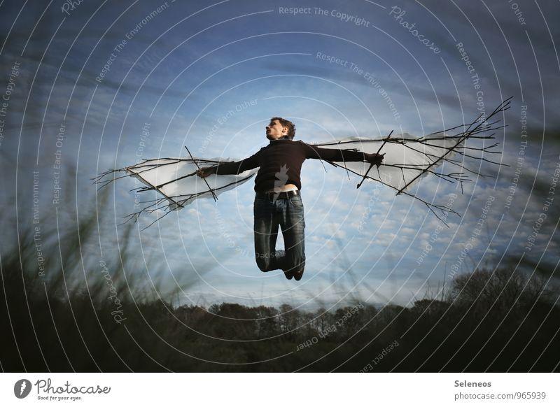 Eintagsfliege Ausflug Abenteuer Ferne Freiheit Mensch maskulin Mann Erwachsene 1 Umwelt Natur Landschaft Himmel Wolken Gras Wiese fliegen frei Sehnsucht Fernweh