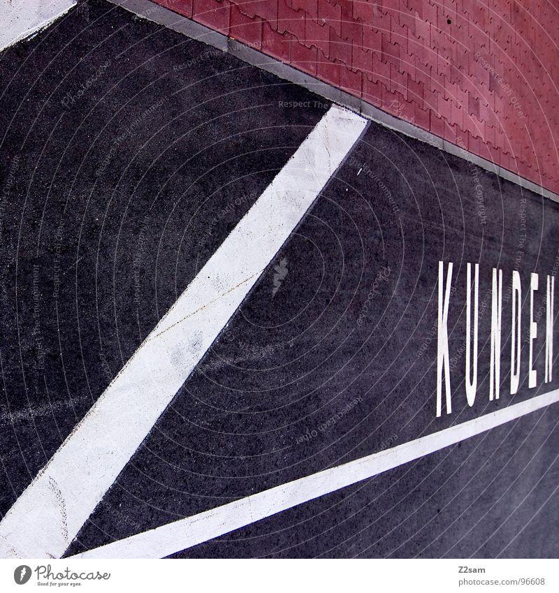 KUNDE IST KÖNIG weiß rot schwarz Stil Linie Beton Schilder & Markierungen modern Schriftzeichen Buchstaben Ladengeschäft Parkplatz König Teer graphisch