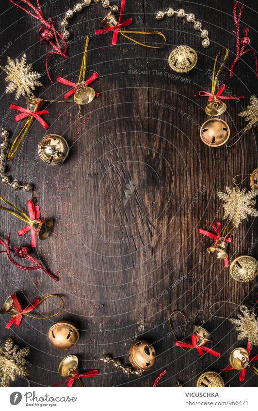 Weihnachten Hintergrund mit goldene Glöckchen alt Weihnachten & Advent rot Winter dunkel Innenarchitektur Stil Hintergrundbild Holz Lifestyle Feste & Feiern Wohnung Design Freizeit & Hobby Dekoration & Verzierung Fröhlichkeit