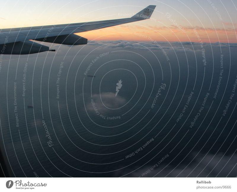Dubai Dawn Sonne Wolken Flugzeug Luftverkehr Schriftzeichen Flügel Arabien