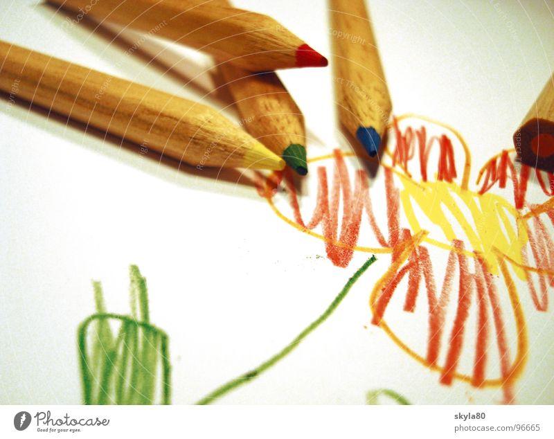 Kunterbunt Blume Holz Freizeit & Hobby Kindheitserinnerung Papier Kreativität Gemälde schreiben Müll Zeichnung Entwurf Farbstift kindlich Splitter Farbmittel Kritzelei
