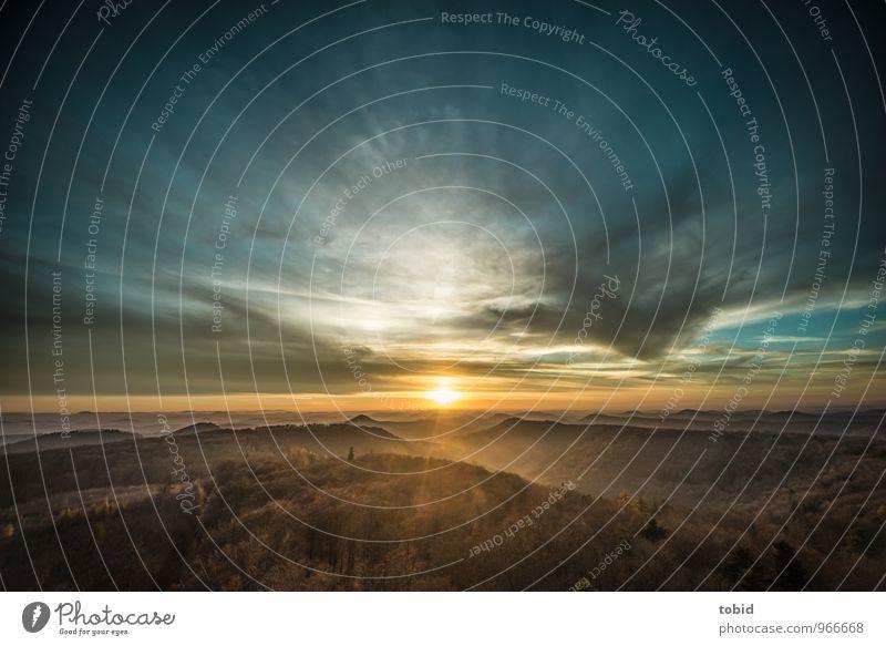 Südpfalz | 100 | Sunset Natur Landschaft Pflanze Himmel Wolken Horizont Herbst Schönes Wetter Wald Hügel Berge u. Gebirge frei Unendlichkeit Wärme Einsamkeit