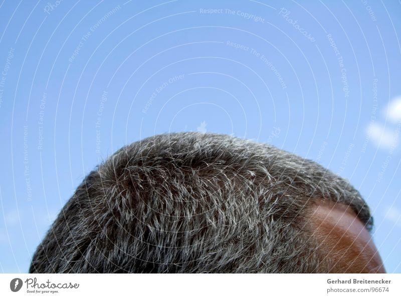Kniebeuge Himmel Mann grau Denken Haare & Frisuren Kopf träumen frei Geister u. Gespenster Gehirn u. Nerven Schädel Stirn Spiritualität Philosoph geistig