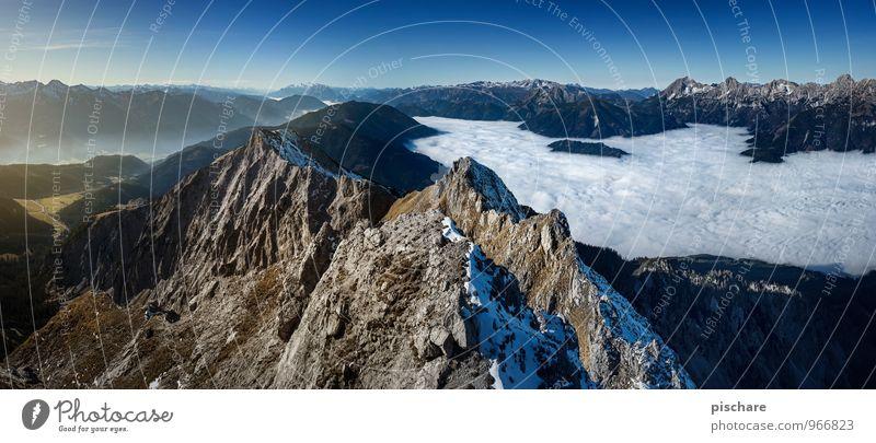 Steiermark Nebelgrenze Umwelt Natur Landschaft Wolken Herbst Schönes Wetter Berge u. Gebirge Gipfel Schneebedeckte Gipfel außergewöhnlich eckig Unendlichkeit
