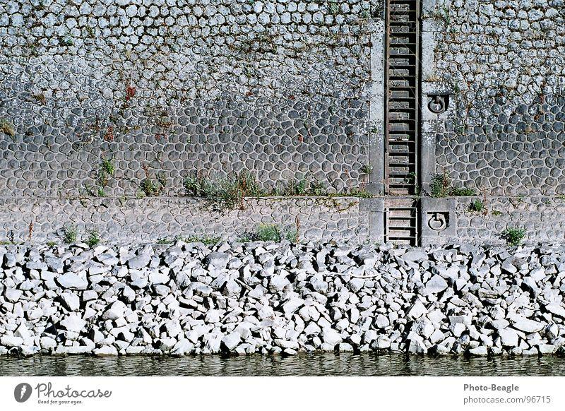 Niedrigwasser II Wasser Sommer Wand Stein Mauer Wasserfahrzeug Industrie Hafen Anlegestelle Leiter Schifffahrt Portwein Mole Dock Steinmauer