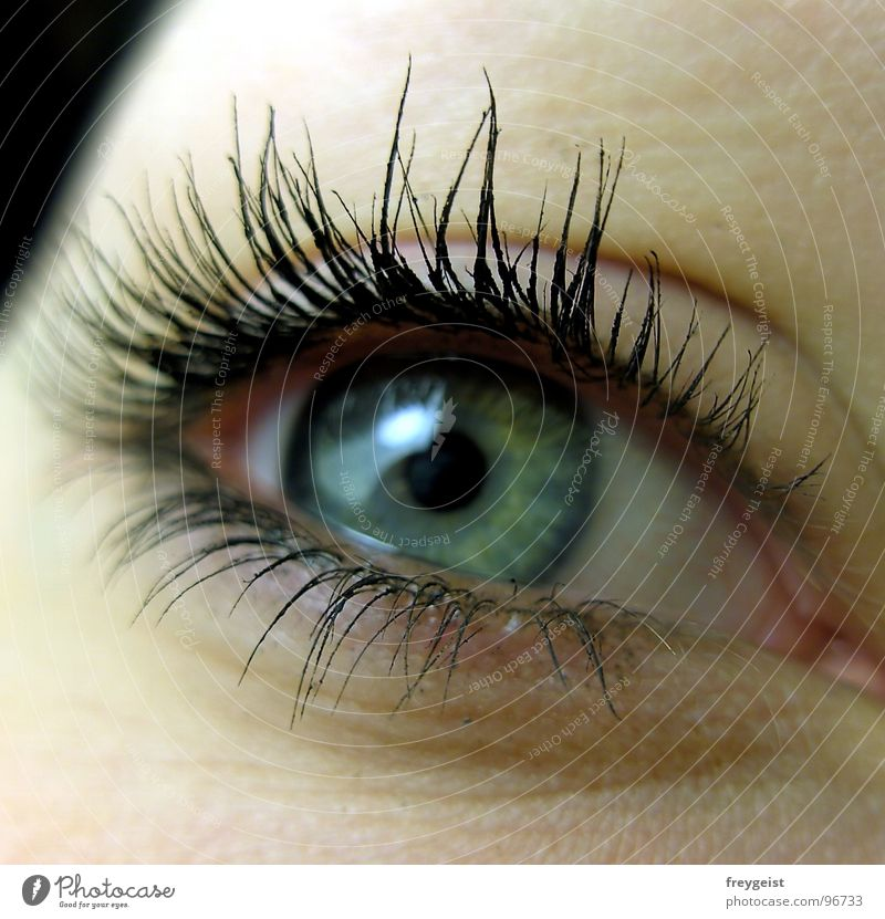 Sad? blau grün Gesicht Farbe Auge grau Wimpern Pupille Regenbogenhaut Nahaufnahme