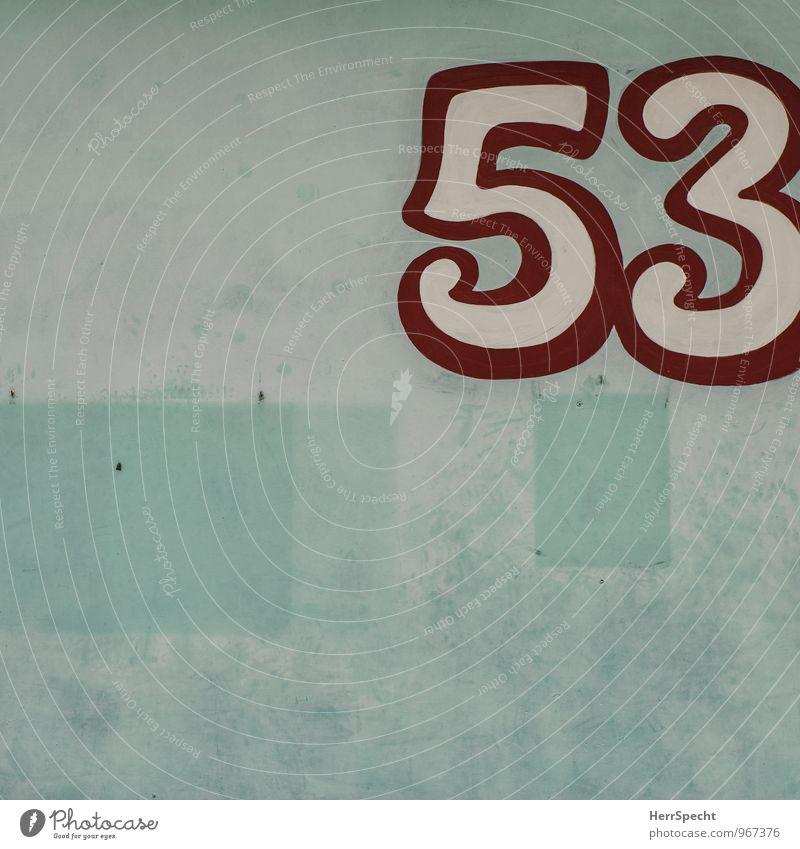 53 Bauwerk Gebäude Mauer Wand Ziffern & Zahlen alt retro trashig trist rot türkis weiß Spuren Zettel Rest Patina Hausnummer Wandmalereien Wanddekoration
